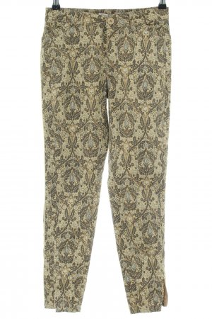 Funky Staff High-Waist Hose wollweiß-khaki abstraktes Muster extravaganter Stil