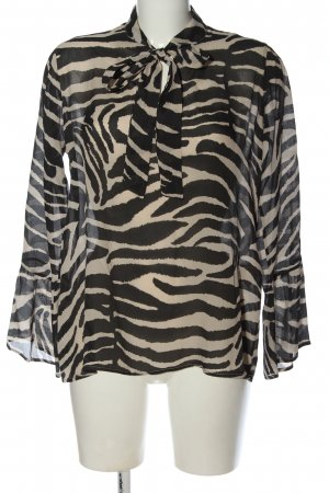 Funky Staff Long Sleeve Blouse nude-black allover print elegant