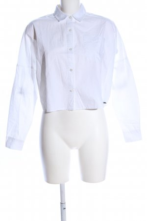 Funkybuddha Langarm-Bluse weiß Schriftzug gedruckt Business-Look