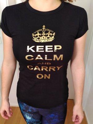 Shirt met print zwart-goud Katoen