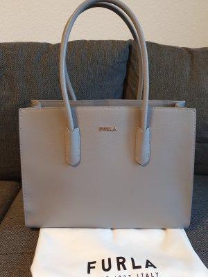 Furla Amina Tote Shopper Tasche ungetragen grau gold Schultertasche Tasche