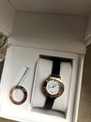 Furla Damen Uhr schwarze Lederarmband