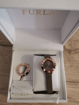 Furla Watch With Leather Strap rose-gold-coloured-grey leather