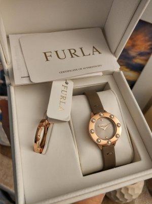 Furla Montre avec bracelet en cuir or rose-gris foncé