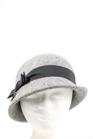 Furla Chapeau en feutre gris clair-noir Motif de tissage style décontracté