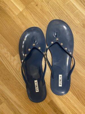 Furla Sandały japonki z rzemykami szary niebieski