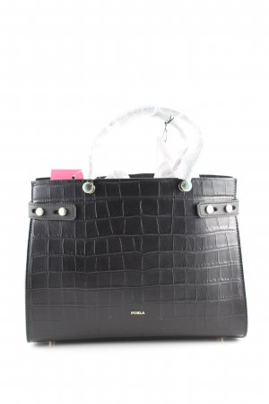 Furla Handtasche schwarz Animalmuster Business-Look