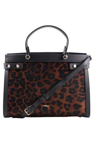Furla Handtasche schwarz-braun Animalmuster Business-Look