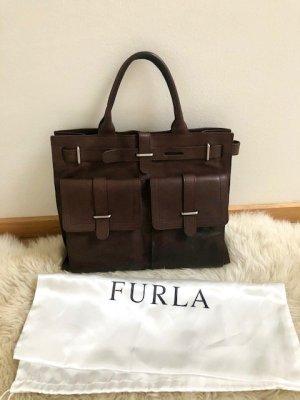 FURLA Leder-Shopper Tote Bag in dunkelbraun