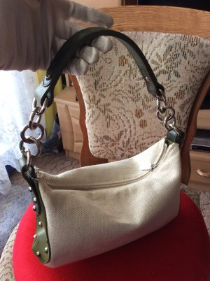 Furla Shoulder Bag natural white-forest green leather