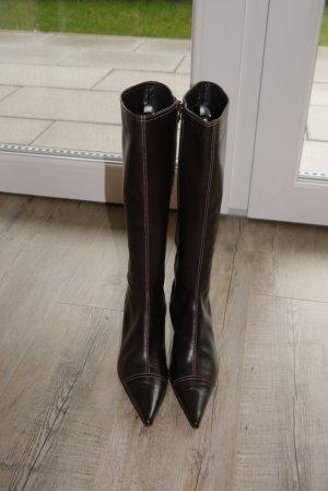 Furla spitze Stiefel dunkelbraun feinstes Leder Gr. 39 1x getragen
