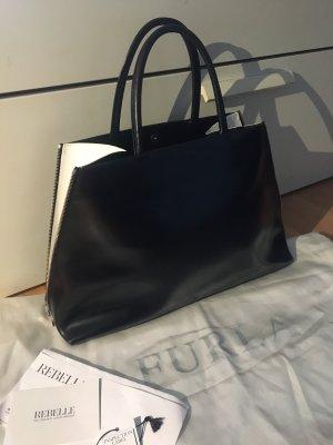 Furla Tasche Shopper schwarz weiß Leder mit Staubbeutel und Etiketten neuwertig