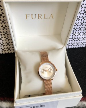 Furla Watch With Metal Strap rose-gold-coloured