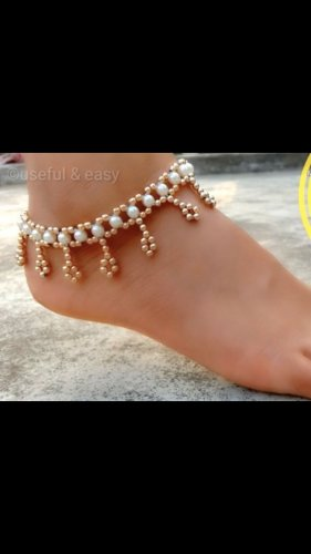 Anklet white-nude synthetic material