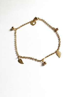 Fußkettchen Blatt & Perle gold