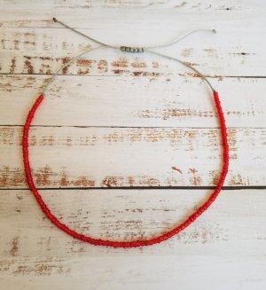 Fußkettchen Futkette mit grauem Band und roten Perlen NEU und Größenverstellbar