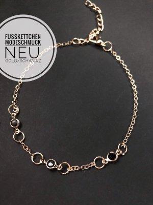Fußkettchen kette Mode Schmuck jewelry neu schwarz Gold blogger vintage