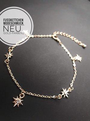 Fußkettchen Kette Stern steinchen Blogger vintage jewelry Schmuck boho neu