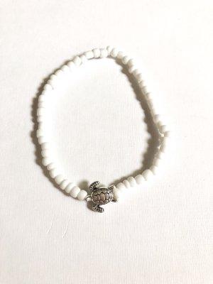 handmade Bransoletka na stopę biały-srebrny