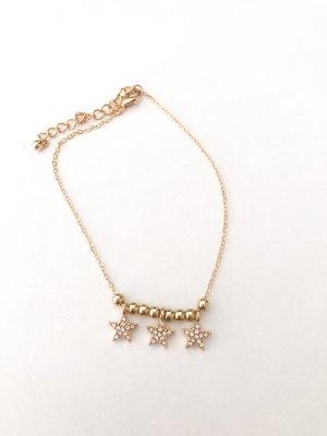 Fußkettchen Perlen & Sterne gold