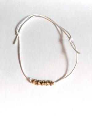 handmade Bransoletka na stopę biały-złoto