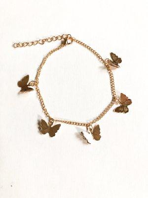 Fußkettchen Schmetterlinge gold