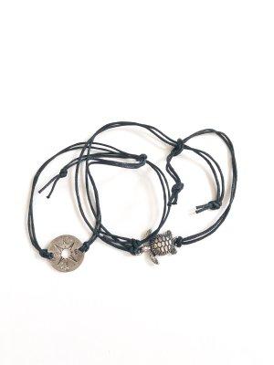 handmade Anklet black-silver-colored