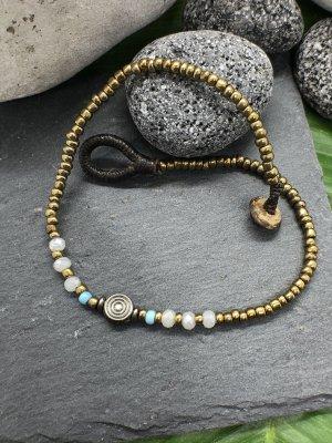 Fußkette antik silberfarben Minispirale 0,7 cm Miniperlen weißliche Miniperlen Länge 26 cm