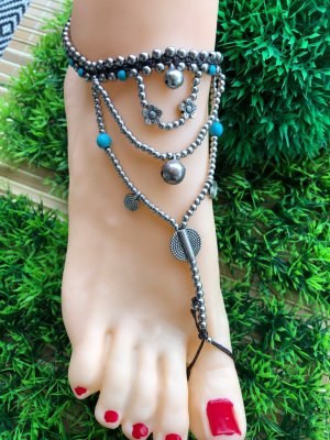 Anklet silver-colored-turquoise
