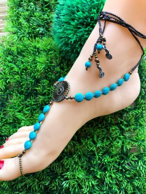 Handmade Anklet multicolored cotton