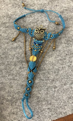 Handmade Anklet gold-colored-neon blue cotton
