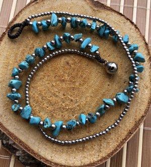 Fußkette Doppelstrang türkise Steine silberfarbene Perlen