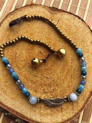 Fußkette Flügel Engel Messing hellblaue Perlen