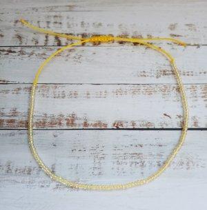 Fußkette Fußkettchen mit gelbem Band und transparenten Perlen NEU und größenverstellbar