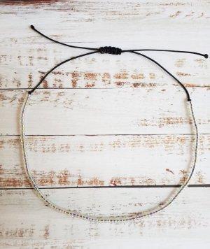 Fußkette Fußkettchen mit schwarzem Band und transparenten Perlen NEU und größenverstellbar