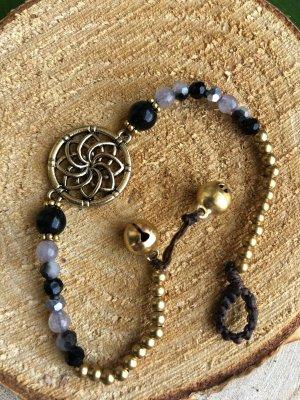 Fußkette Lotusblüte Messing Perlen schwarz mix