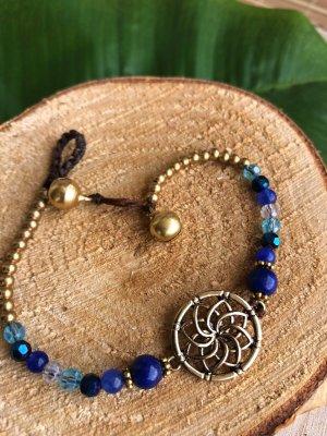 Fußkette Lotusblüte Perlen Mix blau