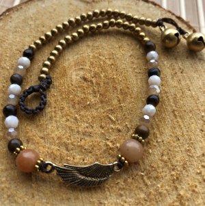 Fußkette Messing Flüge Wing 2,2x0,6cm braun Mix Perlen Länge 26 cm