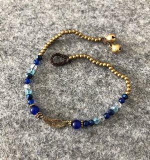 Fußkette Messing Flügel 2,2x0,6 cm Länge 26 cm Inkblau Mix Mini Perlen