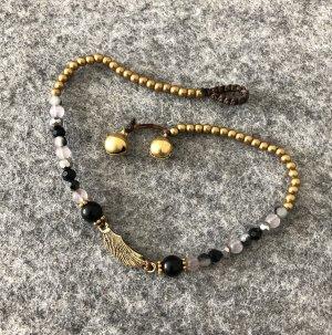 Fußkette Messing Flügel Wing 2,2x0,6 cm schwarz grau Mix Perlen Länge 26 cm
