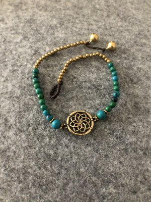 Fußkette Messing Lotusblüte grüne Perlen