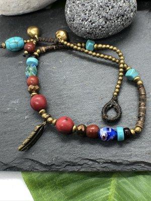 Fußkette messingfarbene Feder 2x0,5 cm Mureno Perlen 28 cm Länge