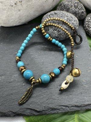 Fußkette messingfarbene Feder 2x0,5 cm türkisfarbene Perlen 28 cm Länge