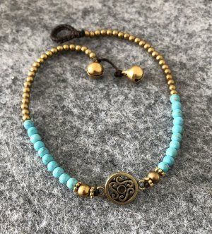 Handmade Anklet turquoise-gold-colored cotton