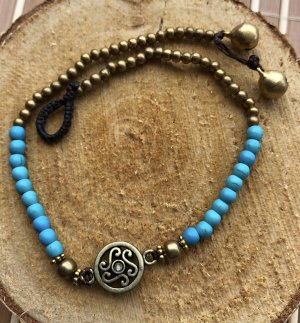 Fußkette messingfarbenes Ornament 1,3 cm türkisfarbene Perlen Länge 26 cm