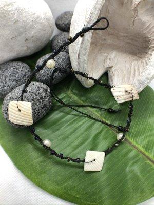 Fußkette Muscheln Perlen schwarz weiß