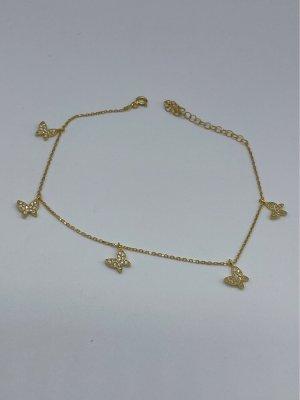 Fusskette neu 925 Sterling Silber vergoldet Schmetterling