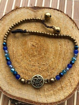 Fußkette Ornament Schnörkel  blaue Perlen