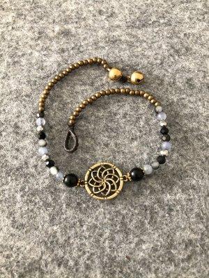 Fußkette schwarz graue Mix Perlen Messing Lotusblüte
