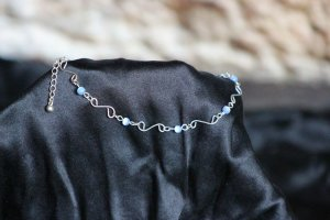 Fußkette silber-blau